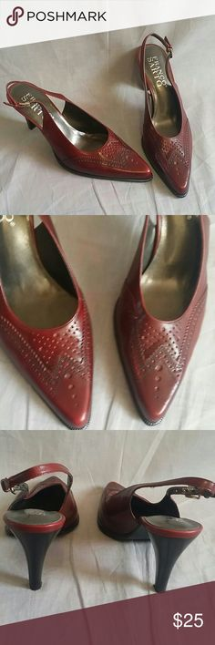 "FRANCO SARTO Dress Shoes Red Size 6 M Heels 3.2"" Women's Dress Shoes Franco Sarto Leather Ankle Strap Heels, item is in a good condition. Franco Sarto Shoes Heels"
