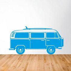 Camper van wall sticker with surf board in red Vw Camper, Vw Bus, Vinyl Wall Stickers, Wall Decals, Sticker Shop, Van Wall, Halloween Home Decor, Fashion Room, Handmade Home Decor