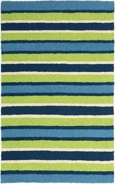 Bold Oceanic Striped Colors Of Lime Green Navy And Teal Blue Make Up The Majority