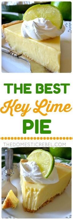 This truly is the BEST Key Lime Pie recipe I have tried! The contrast of the buttery graham cracker crust with the sweet-tart, juicy, creamy Key lime filling is amazing! You'll love this simple pie recipe! ~ The Domestic Rebel Easy Pie Recipes, Dessert Recipes, Lime Recipes Baking, Key Lime Pie Rezept, Just Desserts, Delicious Desserts, Best Key Lime Pie, Keylime Pie Recipe, Keylime Pie Easy