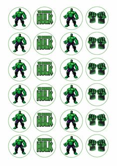 24 assorted The Incredible Hulk 4cm round cupcake edible images toppers in Home & Garden, Kitchen, Dining, Bar, Baking Accs. & Cake Decorating | eBay!