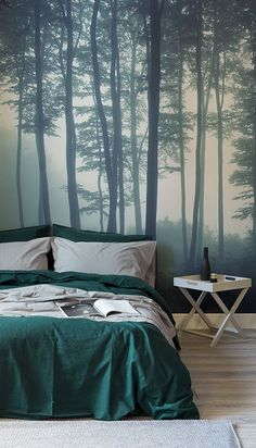 Discover calming interior design with a moody forest wallpaper. Featuring a sea of trees in deep misty hues, this wallpaper can transform any room into a serene hideaway. Display on a tall wall to feel the maximum impact of this mysterious mural. Forest Theme Bedrooms, Forest Bedroom, Bedroom Themes, Bedroom Decor, Forest Mural, Tree Forest, Tree Design On Wall, Wall Design, Discount Bedroom Furniture