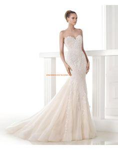 Robe de mariée sirène tulle application perles 2015