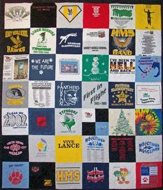 t-shirt quilt! What a great gift idea! Save your kids t shirts through high school and make a great quilt for a graduation gift *bizarre that these shirts are from my area, but my friend from growing up who is no where near me now pinned it!!!! Small world...