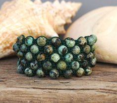 African Turquoise Jasper Bracelet - Shamballa Bracelet - Five Row Knotted Bracelet - Macrame Bracelet