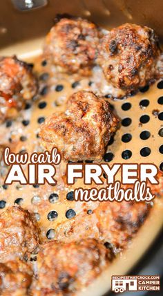 Are you looking for an easy way to make homemade meatballs? Our Air Fryer Meatba… Are you looking for an easy way to make homemade meatballs? Our Air Fryer Meatballs are quick and simple to make AND our air fryer recipe is low carb! Air Fryer Recipes Breakfast, Air Fryer Oven Recipes, Air Frier Recipes, Air Fryer Recipes Ground Beef, Air Fryer Recipes Meatballs, Low Carb Recipes, Cooking Recipes, Healthy Recipes, Cooking Tips