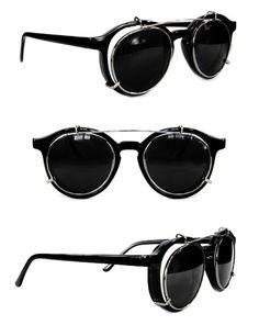 Round Steampunk Glasses Black Chrome