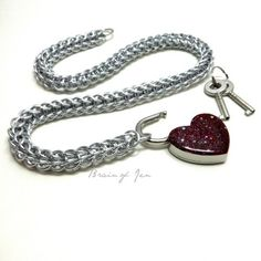 Silver Chainmaille Choker Day Collar with Sparkly Blood Red Heart Lock | BrainofJen - Jewelry on ArtFire