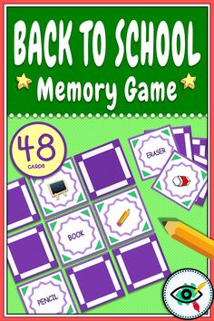 A colorful, fun matching/memory game designed especially for Back to School. Include 48 cards with images and words in English related to School plus Instruction for a memory game.#backtoschoolgames Get To Know You Activities, Back To School Activities, School Resources, First Grade Teachers, Elementary Teacher, Elementary Schools, School Grades, Primary School, Second Grade Games