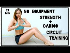 28 minute Full Body Strength & Cardio Circuit - No Equipment - YouTube. Not too hard- but gets a good sweat going!