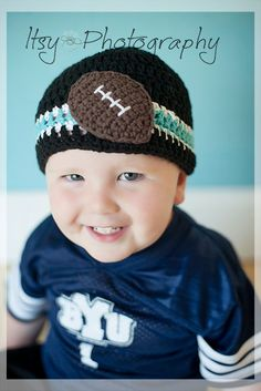 Crocheted Cotton Hat Inspired By Carolina Panthers NFL Colors - Great Photo Prop
