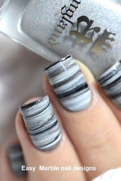 Fifty shades of Grey dry marble nail art tutorial. Nail Art Designs, Marble Nail Designs, Marble Nail Art, Simple Nail Designs, Nails Design, Gray Marble, Grey Makeup, Water Nails, Water Marble Nails