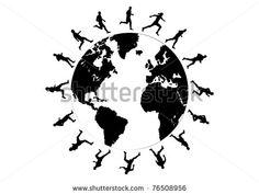 black silhouettes of running around the world - stock vector