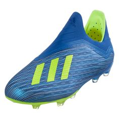 3f1e8aa56470 adidas X 18+ Purespeed FG Junior Soccer Cleats Blue Solar Yellow Black-13.5k