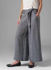 Linen Wide-Leg Extra Long Pants