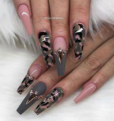 Nail Shapes - My Cool Nail Designs Glam Nails, Hot Nails, Bling Nails, Stylish Nails, Trendy Nails, Army Nails, Military Nails, Nails Kylie Jenner, Camouflage Nails