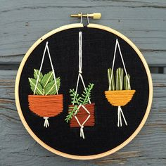 hanging plants embroidery hoop  Lemonmadeshop.etsy.com