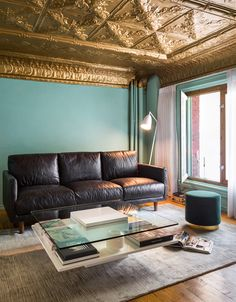 Distressed Leather Sofa Sofas Ceiling Tiles Decor Happy House Black Interiors Family Rooms Future Murs