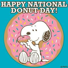 In honor of national doughnut day. I give to you, SNOOPY! Peanuts Cartoon, Peanuts Snoopy, Schulz Peanuts, Snoopy Cartoon, Snoopy Comics, Peanuts Comics, Peanuts Characters, Cartoon Characters, National Donut Day