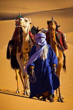 Viajando Merchant com camelos embalados - vida no deserto