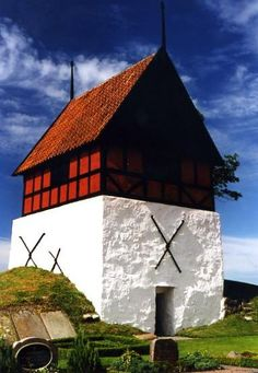 Ruth's Church Belltower (Ruts Kirke) located in the village of Rutsker near Hasle, Bornholm.