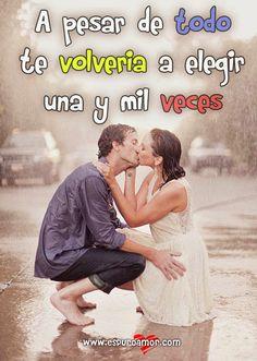 Imagen con frase de PURO AMOR para facebook de pareja besándose de rodillas - http://goo.gl/d0aBfr #Frasesromanticas, #Imagenesdeamor, #Imagenesdeparejas