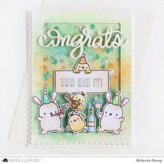 Hi all! I want to share my card for Mama Elephant  Stamp Highlight Congrats All Around . This stamp set is contain of fun sentiments and it'...