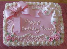 Girl Baby Shower bow, booties and roses made from gumpaste. Girl Shower Cake, Baby Shower Sheet Cakes, Tortas Baby Shower Niña, Torta Baby Shower, Bolo Laura, Sheet Cake Designs, Super Torte, Girl Cakes, Buttercream Cake