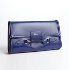 ALEXANDER MCQUEEN Royal Blue Leather 'Heroine' Day Clutch