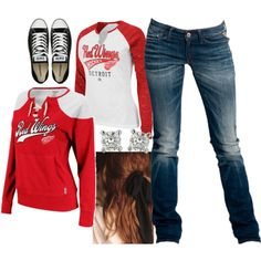 Let's go Red Wings Hockey Mom, Hockey Games, Sport Outfits, Cute Outfits, Go Red, Cute Hoodie, Detroit Red Wings, New Wardrobe, Sports Women