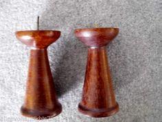 TEAK-Holz-PAAR-Kerzenstaender-50er-60er-Design-2-Kerzenhalter-Kerzenleuchter