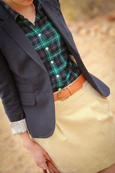 Shop this look on Lookastic: http://lookastic.com/women/looks/navy-and-green-dress-shirt-navy-blazer-tobacco-belt-gold-mini-skirt/9515 — Navy and Green Plaid Dress Shirt — Navy Blazer — Tobacco Leather Belt — Gold Mini Skirt