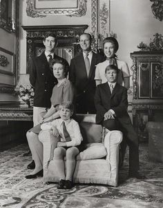 The Royal Family in 1972...Prince Charles, Prince Phillip, Princess Anne, Queen Elizabeth, Prince Edward, and Prince Andrew....The Young Family...