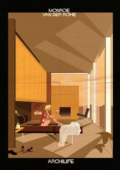 Federico Babina imagines film stars living inside famous architect-designed houses http://www.dezeen.com/2014/11/10/federico-babina-imagines-movie-stars-famous-architect-designed-houses-archilife-illustration/