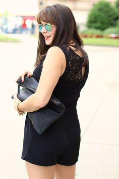 black lace romper ou