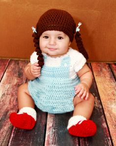 OMG I just died!!!!   Dorothy from the Wizard of Oz Crocheted Baby Costume. $25.00, via Etsy.