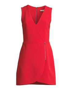 Alice + Olivia Lennon Surplice Sleeveless Side-Zip Mini Cocktail Dress   Neiman Marcus Dresses For Work, Summer Dresses, Crepe Dress, Alice Olivia, Neiman Marcus, Polyester Spandex, Fashion Accessories, Dressing, Zip