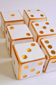 Gold dice favor boxes for gambling casino party in Atlantic City or Las Vegas. by elizabethdoodah