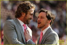 Gerard Butler and James McAvoy in one picture! Can it get any better? Oh wait, they're about to play some soccer. Man I love them.