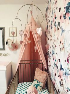 Whimsical Nursery of Little Miss Comedy - flowery wallpaper, canopy, pink gold cot Incy Interiors, target, polka dot bedding. Nursery Room, Girl Nursery, Nursery Decor, Nursery Ideas, Nursery Design, Room Ideas, Nursery Inspiration, Nursery Bedding, Bedroom Decor