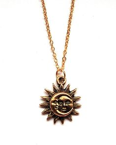 Gold Celestial Sun and Moon Necklace