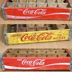 Vintage Coca-Cola wood bottle crates available and ready to ship. #cocacola #coke #vintage #crate