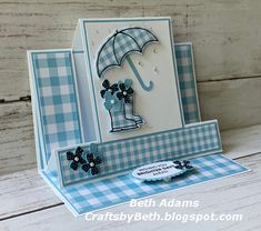 Under My Umbrella Center Step Easel Card - Stampin' Connection Fancy Fold Cards, Folded Cards, Center Step Cards, Umbrella Cards, Side Step Card, Stepper Cards, Swing Card, Anna Griffin Cards, Under My Umbrella