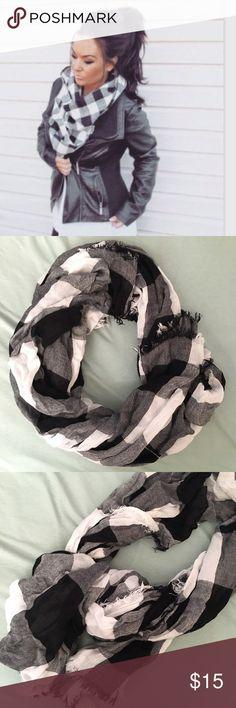 Selling this B&W Checkered Scarf on Poshmark! My username is: mersinamarie. #shopmycloset #poshmark #fashion #shopping #style #forsale #Accessories