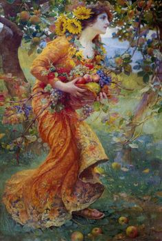 love the sunflowers in her hair....Franz Dvorak, In the Orchard, (1912)