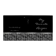 Ebony Damask Ribbon Recipe Book 3 Ring Binder