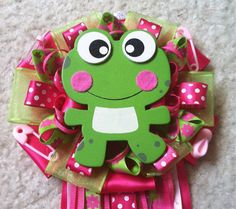 Hot pink & Lime green frog baby shower mum on Etsy, $20.00