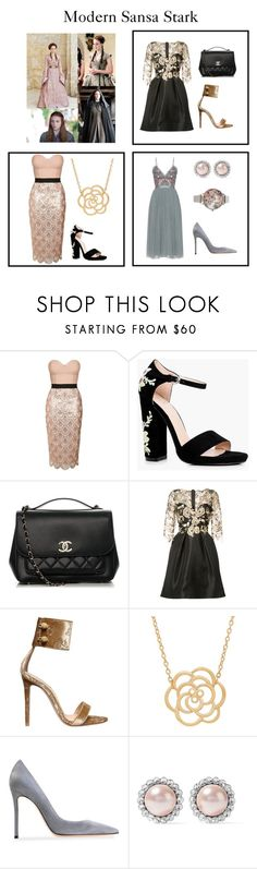 """""""Modern Sansa Stark"""" by newmanlauren ❤ liked on Polyvore featuring Topshop, Boohoo, Chanel, Monique Lhuillier, Gianvito Rossi, Lord & Taylor, Miu Miu, Olivia Burton, modern and GameOfThrones"""