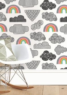 Our Clouds + Rainbows wallpaper is the perfect quirky design for your children's bedroom or nursery. Hand-drawn clouds filled with pattern drift across this sky, interspersed with colourful rainbows! Quirky Wallpaper, Modern Wallpaper Designs, Boys Wallpaper, Nursery Wallpaper, Bright Wallpaper, Childrens Bedroom Wallpaper, Kids Bedroom, Bedroom Ideas, Bedroom Decor