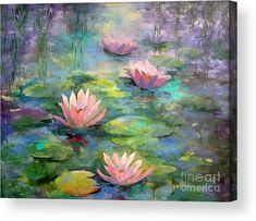 Monet wallpaper water lilies print painting lily pads beautiful ideas on large iphone . Water Lilies Painting, Pond Painting, Lotus Painting, Lily Painting, Acrylic Painting Flowers, Watercolor Lotus, Garden Painting, Acrylic Colors, Monet Paintings